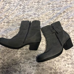 Earth Origins Gray Suede Booties
